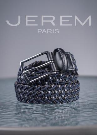 Мужской пояс jerem paris, франция 106 см кожаный ремень плетен...