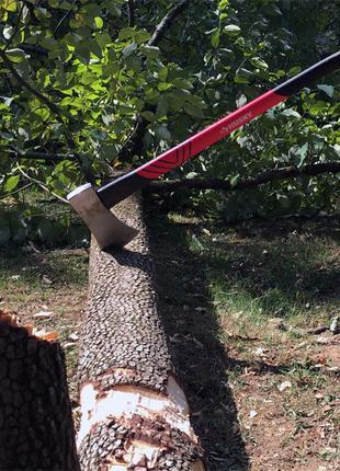 Валю великі дерева / обтинаю гіляки / колю дрова .