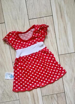 Красное в горошек летнее трикотажное платье