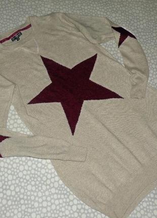 Тёплое платье-туника звезда ангора 10-11 лет
