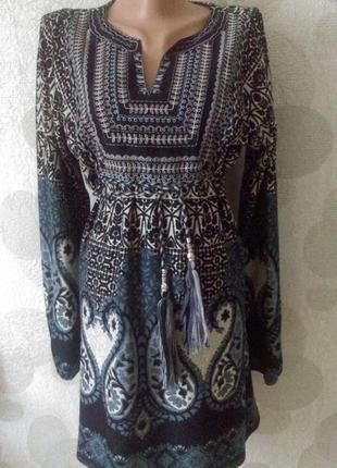 Роскошное    мини платье   туника   в бохо стиле