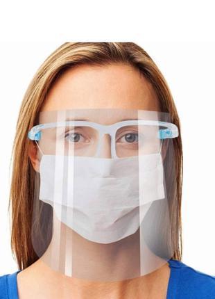 Защитный экран для лица пластиковый Face Shield 20 шт в комплекте