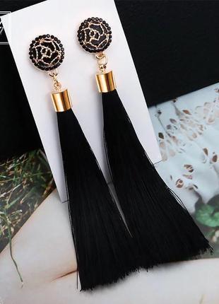 Серьги кисточки длинные чёрные
