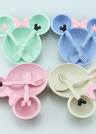 Детская посуда набор :тарелка ложка вилка Микки маус
