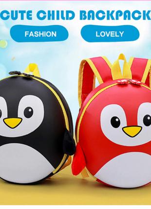 Детский рюкзак каркасный 3 D портфель Пингвин