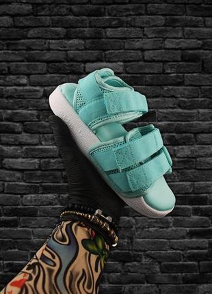 🌴летние сандали adidas blue white🌴женские стильные шлепанцы/сл...
