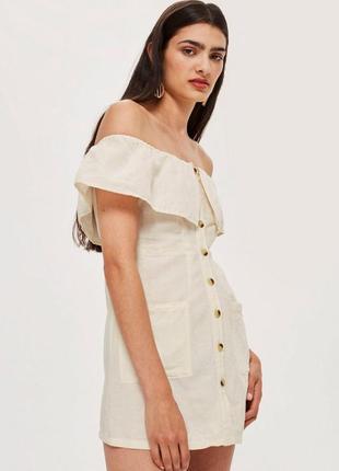 Льняное платье сарафан на пуговицах со спущенными плечами из н...