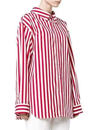 Стильная коттоновая рубашка в красную полоску