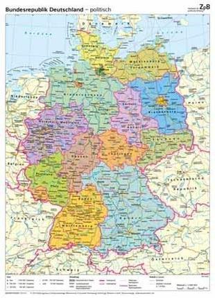 Карта Германии. На немецком языке.