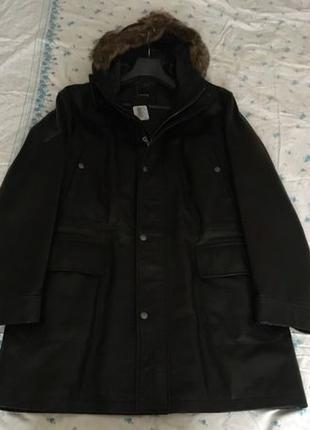 Мужская кожаная куртка на синтепоне Hugo Boss. Оригинал! Мех к...