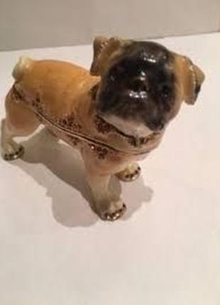 Мопс собака фигурка шкатулка статуэтка, Шкатулка с Мопсом