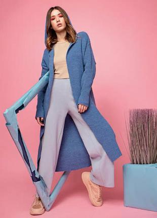 Трендовый стильный женский кардиган с капюшоном, цвет -голубой...