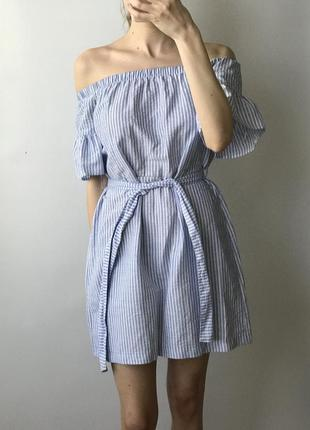 Платье сарафан в полоску на поясе короткое мини рукав воланы к...