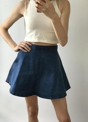 Юбка солнце джинсовая синяя мини короткая