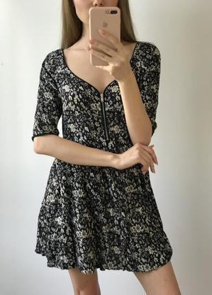 Платье мини чёрное белое в цветы юбка солнце ретро винтаж