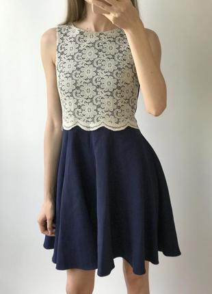 Платье мини синее белое кружево юбка солнце летнее нарядное бе...