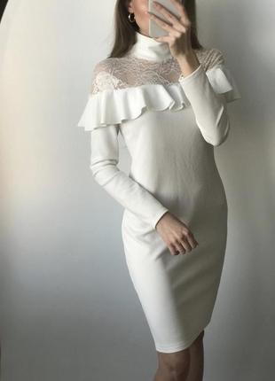 Платье белое мини короткое молочное миди нарядное кружево прям...