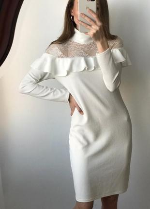 Платье белое новое мини миди кружево нарядное вечернее прямое ...