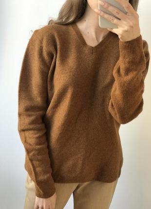 Свитер коричневый шерстяной теплый шерсть джемпер водолазка об...