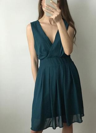 Платье лазурное синее мини короткое юбка плиссе плиссированная...