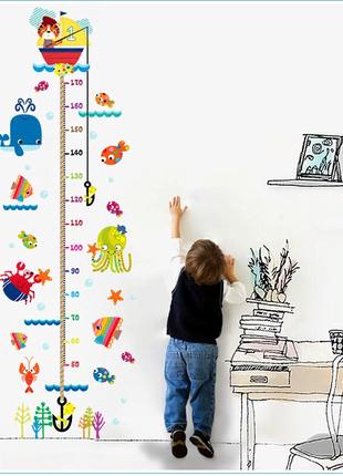 Детский ростомер наклейка на стену