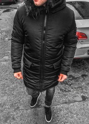 Мужская зимняя парка с мехом (куртка пуховик) новая черная