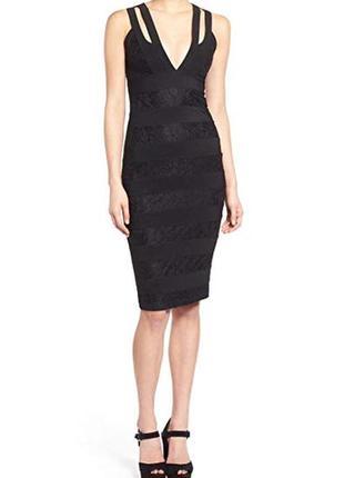 Женское черное вечернее нарядное клубное платье миди футляр ко...