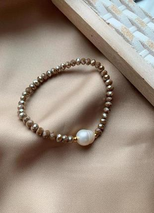 Нежный браслет из бисера с пресноводным жемчугом
