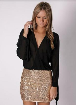 Женское вечернее нарядное клубное платье на запах smash пайетк...