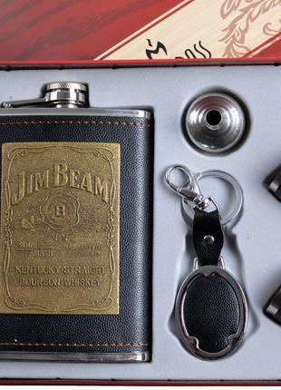 """Подарочный набор Jim Beam """"Moongrass"""" 5в1 Фляга, Брелок, Рюмки..."""