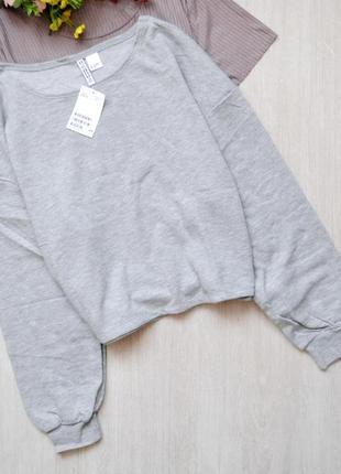 Стильный серый укороченный свитшот h&m