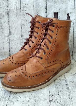 Брогированные кожаные  ботинки jack&jones made in portugal 44 р.