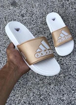 Женские летние сланцы-шлепанцы-шлепки адидас, adidas white gol...