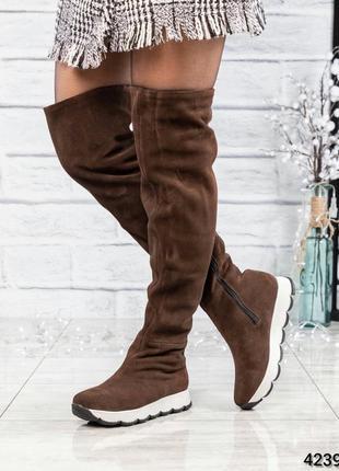 ❤ женские коричневые весенние деми замшевые высокие сапоги бот...