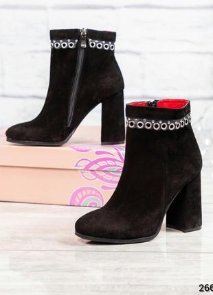 ❤ женские черные весенние деми замшевые ботинки сапоги полусап...