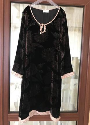 Платье миди  велюровое стильный модный дорогой бренд rutzou ра...