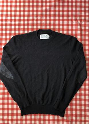 Свитшот свитер шерстяной кашемировый с кожаными вставками mais...