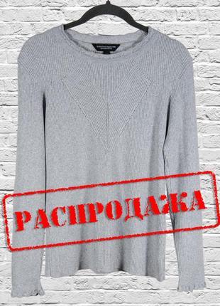 Серый свитер женский, однотонный свитер свободный