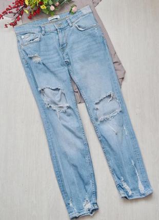Крутые джинсы с рванками zara woman premium collection denim j...