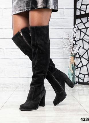 ❤ женские черные весенние деми замшевые высокие сапоги ботфорт...