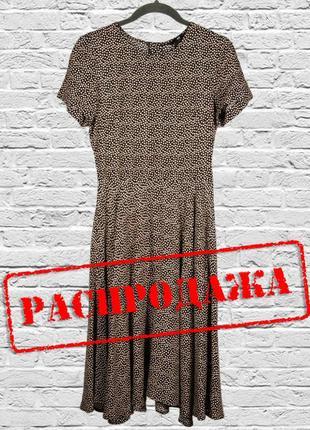 Модное платье миди, платье в горошек, черное платье ниже колен