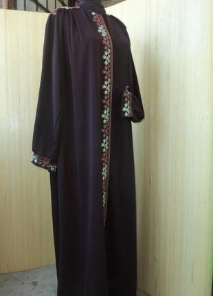 Длинное платье рубашка с вышивкой / для кормящих / абая l/ xxl
