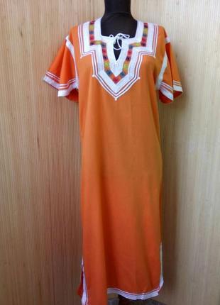 Марокканское длинное платье туника с вышивкой / джеллаба / галабе