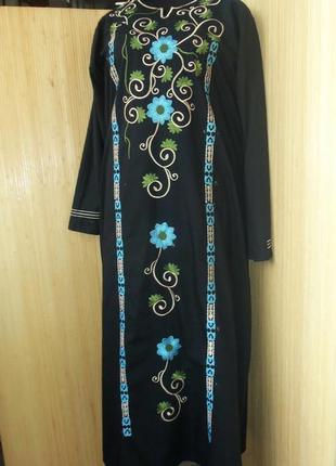 Длинное чёрное платье рубашка с вышивкой / абая / галабея