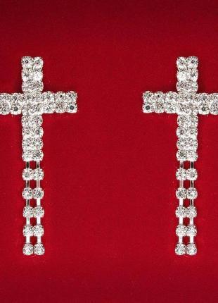 Серьги крест в камнях двухрядные с подвесками