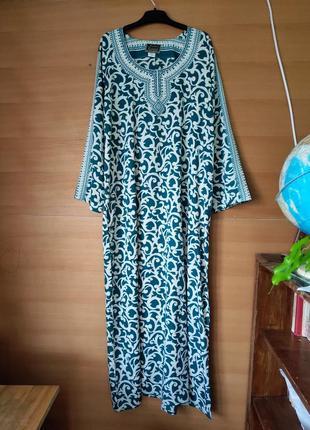 Длинное платье рубаха с узором  Индия ml