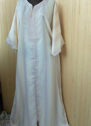 Длинное марокканское платье рубашка в полоску/ джаллаба /