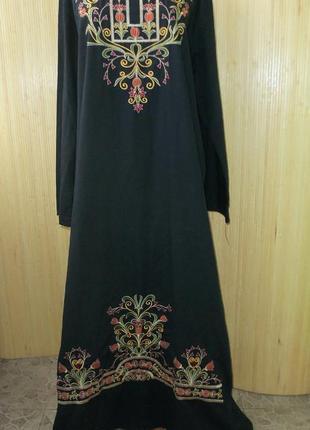 Длинное платье рубашка с вышивкой / абая / галабея xl/xxl