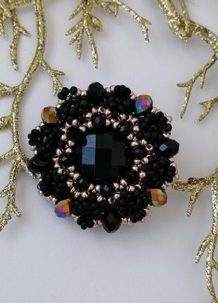 Модная черная золотая брошь ручной работы «black and gold»