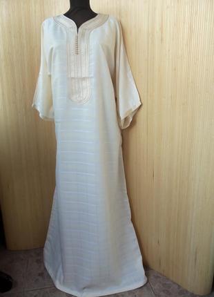 Длинное марокканское платье рубаха в клетку / джалабия / галабея